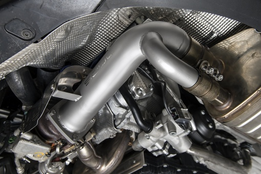 Porsche 991.2 Carrera (without PSE) Cat Bypass Pipes - Installed Detail