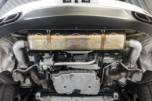 Soul Performance Products Porsche 991 Turbo Cat Bypass Pipes - Installed