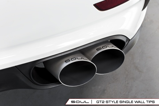 Soul Performance Products Porsche 991 Turbo Bolt On Tips - GT2 Style Single Wall Installed Detail