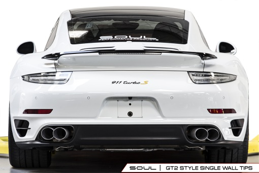 Soul Performance Products Porsche 991 Turbo Bolt On Tips - GT2 Style Single Wall Installed Rear