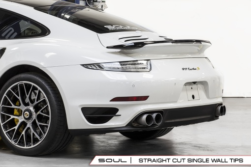 Soul Performance Products Porsche 991 Turbo Bolt On Tips - Straight Cut Installed