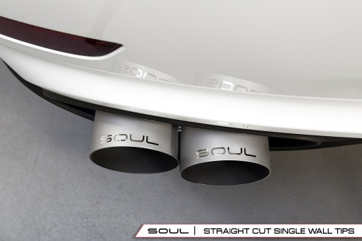 Soul Performance Products Porsche 991 Turbo Bolt On Tips - Straight Cut Installed Overhead