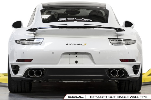 Soul Performance Products Porsche 991 Turbo Bolt On Tips - Straight Cut Installed Rear