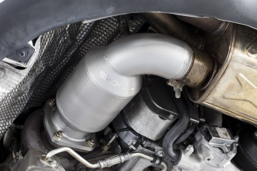 Soul Performance Products Porsche 991 Turbo Sport Catalytic Converters - Installed Detail