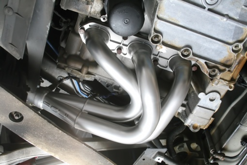 Porsche 987.1 Competition Headers - Installed Left