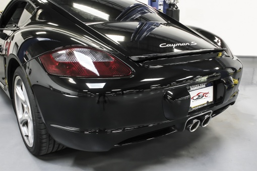Black Porsche 987.1 Polished Chrome Tips Installed