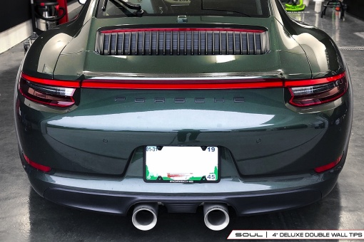 Porsche 991.2 Carrera Bolt On Tips - 4 Inch Double Wall Installed