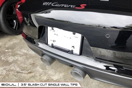 Porsche 991.2 Carrera Bolt On Tips - Slash Cut 4 Inch Installed