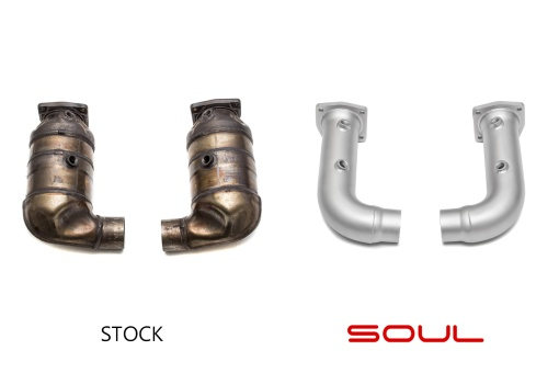 Soul Performance Products Porsche 991 Turbo Cat Bypass Pipes - Stock Comparison