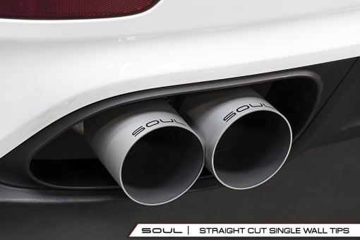 Soul Performance Products Porsche 991 Turbo Bolt On Tips - Straight Cut Installed Close Up View