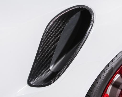 White Porsche Side Air Ducts - Carbon Fiber - Close Up View