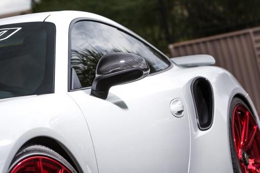 White Porsche 991 Side Air Ducts - Carbon Fiber - Front View