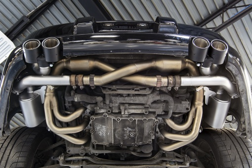 Porsche 997 Carrera Exhaust Installed Underneath View