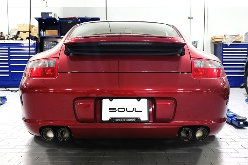SOUL 997.1 Carrera Muffler Bypass Pipes - Installed Tips