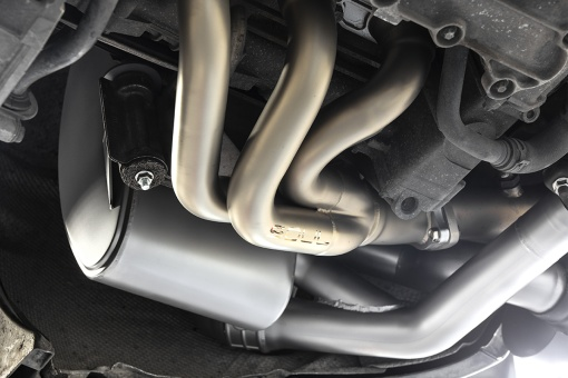SOUL 997.1 Porsche Carrera Valved Exhaust - Installed - Muffler Detail