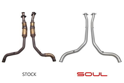 Soul Performance Products Range Rover Supercharged Cat Bypass Downpipes - Comparison