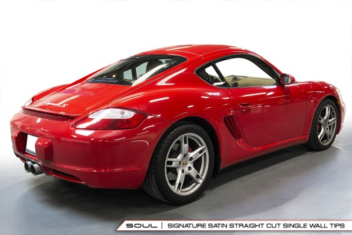 Competition exhaust system with satin straight cut tips for the Porsche 987.1 - Soul Performance Parts