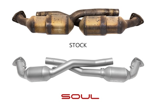Comparison of a stock vs. Soul Performance Parts 997.1 Carrera Sport catalytic converter - Soul Performance Parts