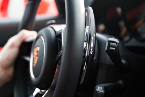 Raceseng Porsche Shifter Paddles - Steering Wheel View