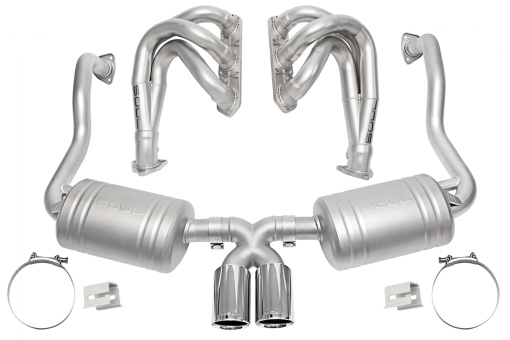Competition exhaust package with polished chrome tips on the Porsche 986 Boxster - Soul Performance Parts
